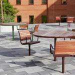 Parco furniture group in jatoba and special color. University in Skövde. Design Broberg & Ridderstråle