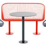 Korg möbelgrupp, soffa, fåtöljer med eller utan snurrfunktion och bord. Design Thomas Bernstrand