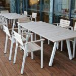SunSet möbelgrupp med rektangulärt bord och fåtöljer, i sioo-behandlad ek. Design Mats Aldén. Mule sykehjem Porsgrunn