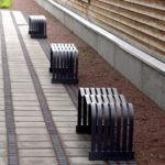 A line of Wave benches. Design Gunilla Hedlund