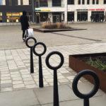 Hoop cykelpollare, design Broberg & Ridderstråle. Masttorget Västra Hamnen Malmö
