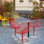 Korg fåtöljer och bord Chalmers Göteborg, Design Thomas Bernstrand