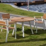 SunSet möbelgrupp i oljad ek, runt bord och fåtöljer. Design, Mats Aldé